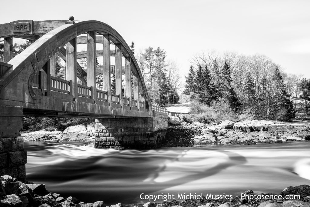 Monochrome print,  long exposure of a Concrete Bridge in Acadia national park, Maine, US