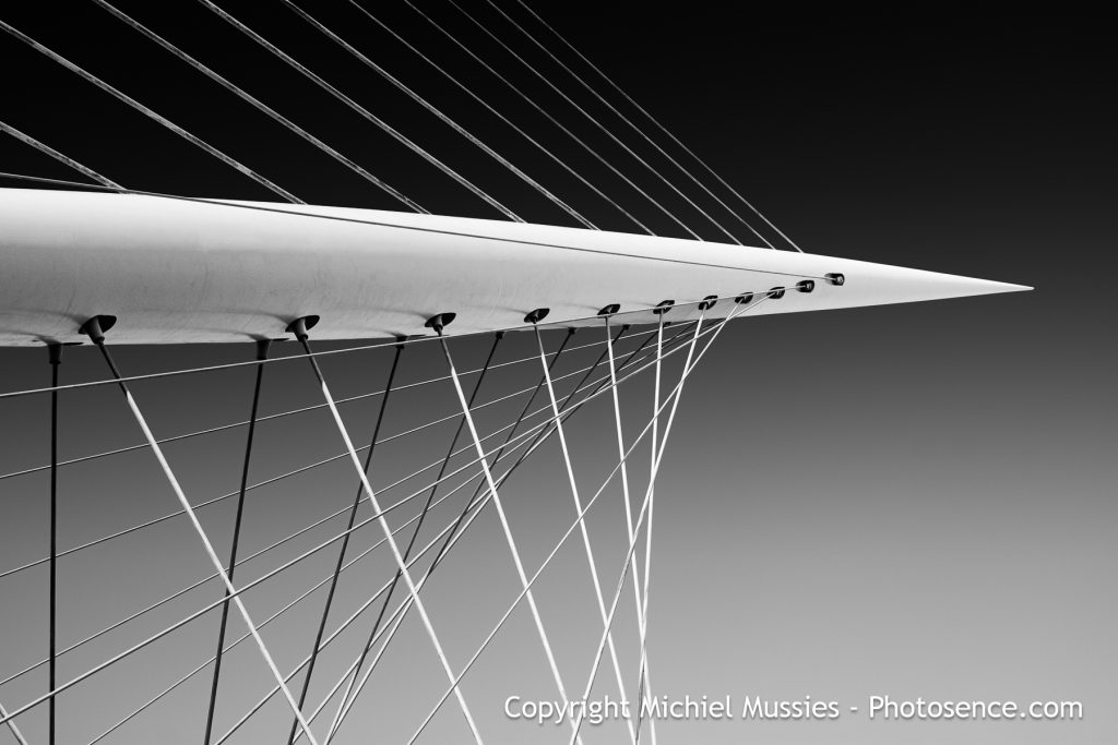 Monochrome print, Bridge at Nieuw Vennep named The Harp in Holland