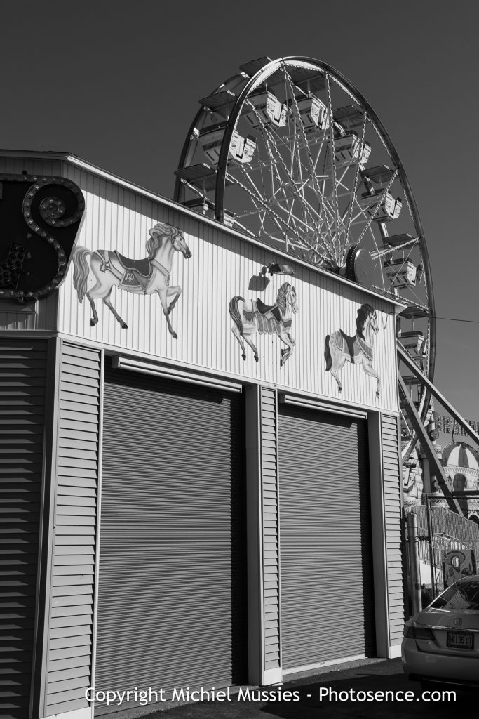 Monochrome print, Cityscape, US, Maine, Old Orchard Beach, Spring, Closed Amusement park