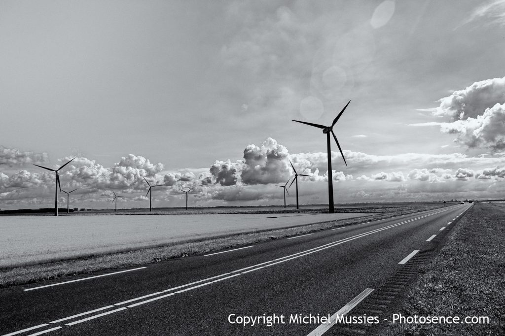 Monochrome print of landscape with Wind Turbines, near Almere, Holland